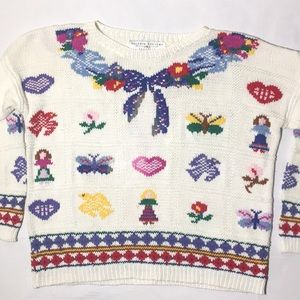 Vintage Valerie Stevens Colorful Knit Sweater M